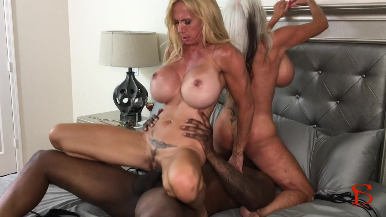 2 big titted black chicks share his jizz 3