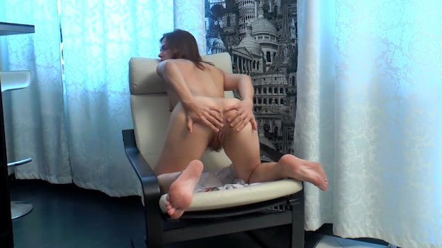 Apricot pitts masturbates on her leather couch 4