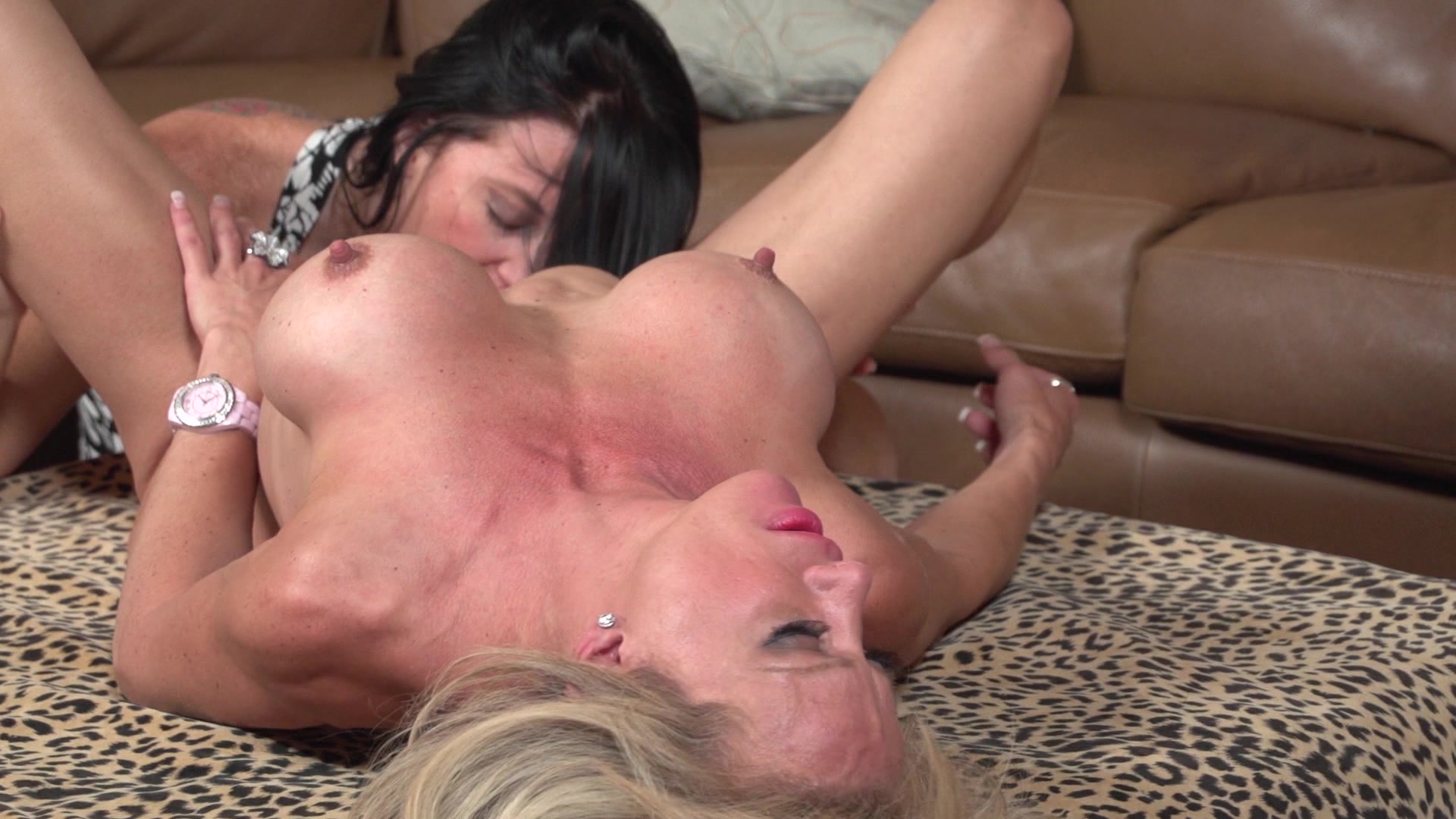 Two blonde lesbians having fun screwing each other with dildos